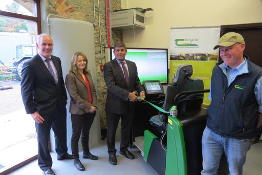 Junior Minister Andrew Doyle pictured with the forestry simulator and (ll-r) John Kelly Principal ,Teagasc Agricultural College, Ballyhaise alongside Marianne Lyons and Arthur Kearns from the college's forestry department