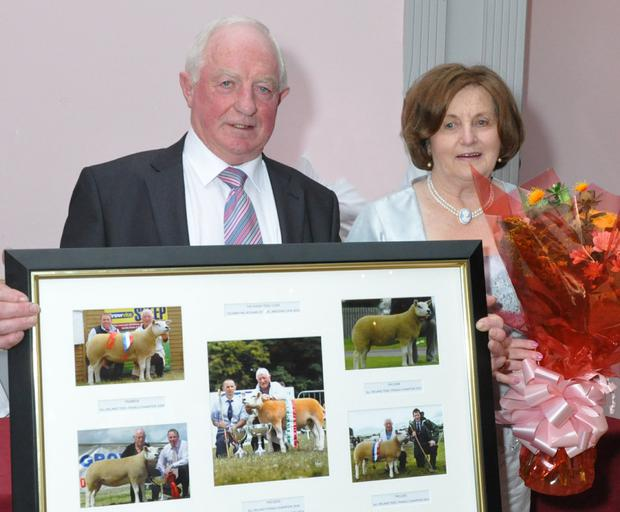 Padraic Niland, pictured with his wife Margaret, received a presentation for being the longest-serving breeder of Texel sheep in the society
