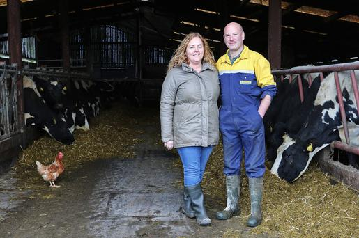 Eamon Sweeney with his partner Nuala McLaughlin on the farm in Ballinamore, Co Leitrim. Photo: Lorraine Teevan