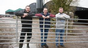 John Lalor with his sons Matthew (left) and John Clyde on the family farm at Ballyfin Co. Laois. Photo: Alf Harvey