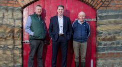 Farm technical manager Peter McConnell, CEO Micheal Briody, and Silver Hill Foods grower Declan O'Gorman from Ballyhaise, Co Cavan