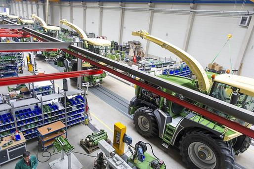 Big X harvesters come to life at the Krone production plant in Spelle, Germany