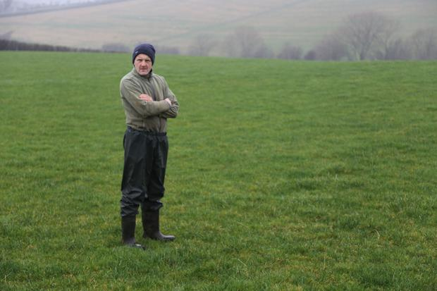 Michael Duffy checks grass growth on one of the fields he closed on November 1