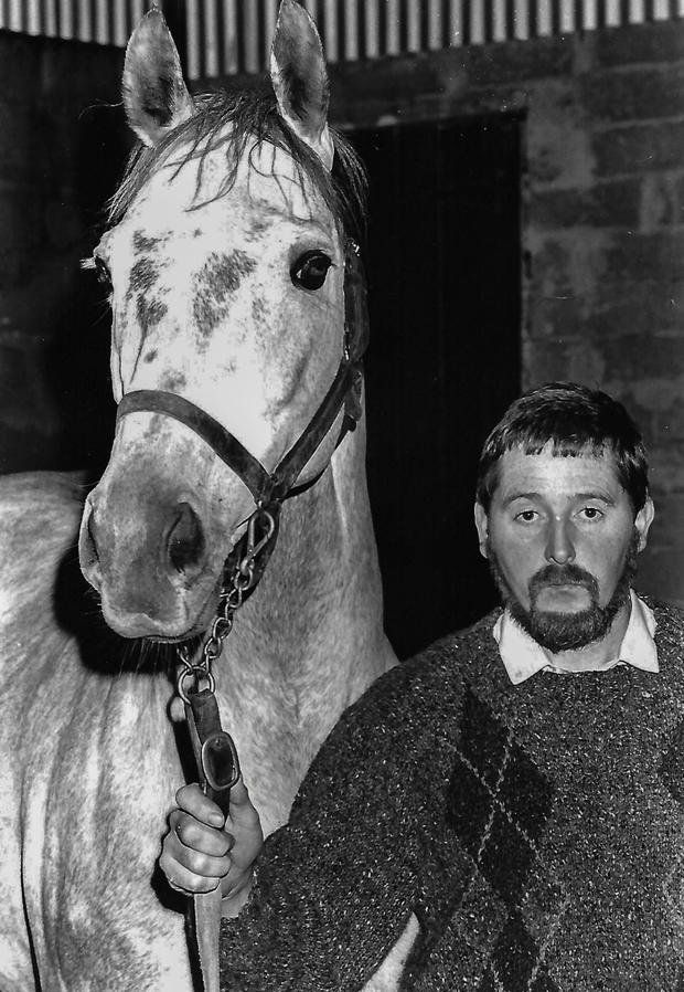 Sean Kinsella in 1988 with Roselier, a photo which appeared on the front page of The Irish Independent
