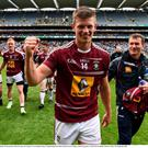 John Heslin celebrates after Westmeath's victory over Kildare in last year's Leinster football championship semi-final. John recently took up a research position with Tegasc at Grange in Co Meath. Photo: Oliver McVeigh/Sportsfile