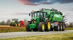 Deere's new 230hp-rated 6230R and 250hp 6250R tractors.