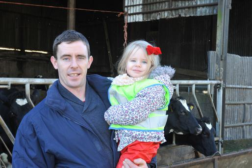 Farmer James Turner with daughter Emily out and about on the family farm in Boolavogue, Co Wexford