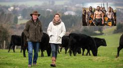 Joe O'Connell with his daughter Rebecca Harris walking Ballyhenry Angus Farm in Ashford County Wicklow. Pic:Mark Condren