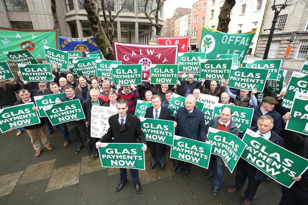 IFA President Joe Healy leads farmers on a protest at the Department of Agriculture on Kildare Street. Picture: Finbarr O'Rourke