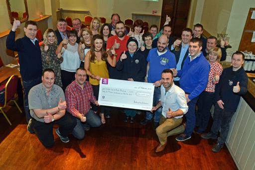 At the presentation of the proceeds of the Battle of the Contractors go-karting day that raised a massive €26,655 in aid of West Cork Rapid Response were supporters and West Cork Rapid Response volunteers with committee members Pat O'Connor, Brian Murphy, Mart Troy, Aoife Lehane, Gearóid Hurley, Colette O'Sullivan and Conor Kingston. Photo: Denis Boyle