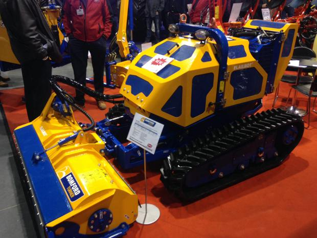 Meet Bomford's futuristic-looking Flailbot, a wireless operated tracked mower for working on risky terrain that offers remote-controlled mowing capability with zero operator risk. Covering challenging, steeply inclined ground with a traditional man-on-board mower puts a driver at risk. Distributors IAM Machinery say the Flailbot can work at angles of up to 55 degrees!