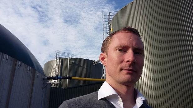 Paul Costello outside the €5m digester unit on the family's Co Kildare pig farm.The biodigester is like a giant cow's stomach with a massive bacterial colony that is fed 24-7 with a soupy combination of slurry and food waste.