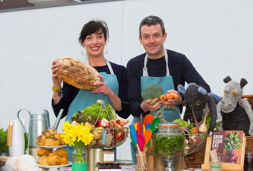At the launch of the Cottage Market Fund is founder of GIY Michael Kelly and the GIY community manager Karen O'Donohoe.