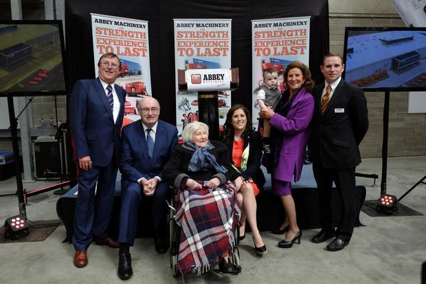 Four generations of the Cavanagh family with EU Commissioner Phil Hogan at the opening of Abbey Machinery's new premises last year (pictured from left:) Charles Cavanagh, Mary Cavanagh, Clodagh Cavanagh, Cathal Cavanagh Smyth, Bernadette Cavanagh and Owen Cavanagh