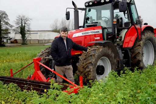 Tom Tierney on his 270ac tillage farm in Prosperous, Co Kildare Photo: Denis Boland