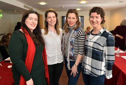 Ciara Shiels, Loughrea, Roberta McDonald, Sligo, Laura Starnes, I.C.S.A., Laois and Paula Mullen, Ahascragh, County Galway at the West Women in Farming conference in the Clayton Hotel, Galway. Photo: Ray Ryan