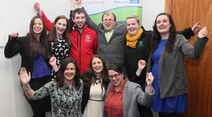 James Healy, President elect of Macra na Feirme,with supporters following yesterday's election count at the Irish Farm Centre.