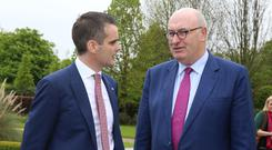 IFA President Joe Healy and EU Commissioner Phil Hogan at yesterday's Brexit conference in Kildare. Photo: Finbarr O'Rourke