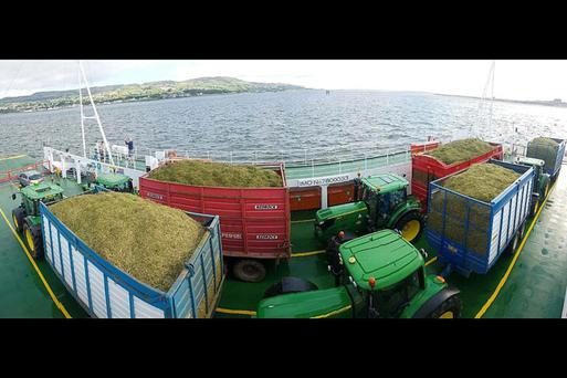 The ferry was able to hold five tractors and trailers on the 20 minute crossing