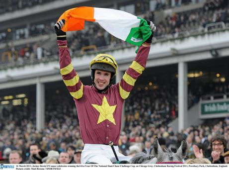 Derek O'Connor takes the plaudits at Cheltenham after winning the 2011 National Hunt Chase Challenge Cup on Chicago Grey. Photo: Matt Browne/SPORTSFILE