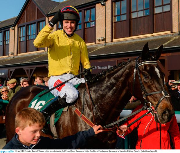 Celebrating after winning on Vision Des Flos at last month's Punchestown meeting. Cody Glenn/Sportsfile