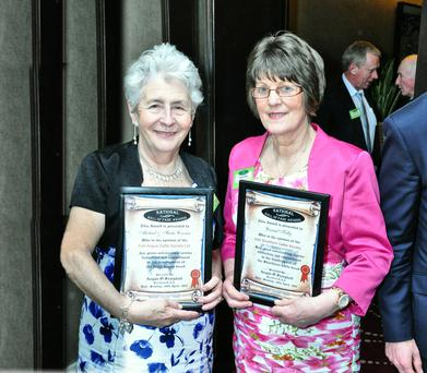 Sheila Cronin from Scartaglen alongside Carmel Kelly of Rathvilly after receiving their National Hall of Fame Awards at the Sheraton Hotel in Athlone