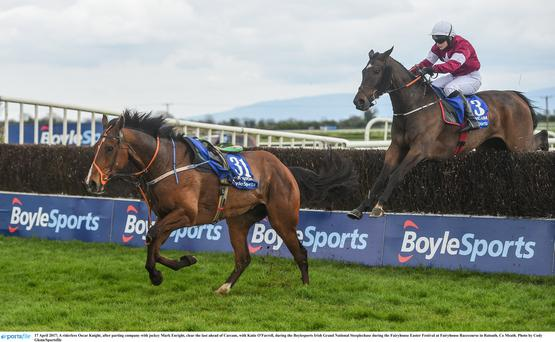 Katie O'Farrell clears the last on Clarcam in this year's Irish Grand National in Fairyhouse