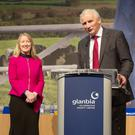 Siobhan Talbot, Group Managing Director, Glanbia and Henry Corbally announce the passing of all motions at the Glanbia Co-op Special General Meeting at Punchestown.