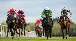 Rachel Blackmore (far right) on Ex Patriot battles it out with Barry Geraghty on Project Bluebook (second right) at the Fairyhouse Easter Festival Photo: Seb Daly/Sportsfile