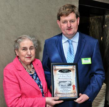 George Hagarty, with his mother, Ada, after receiving the Hall of Fame Award.