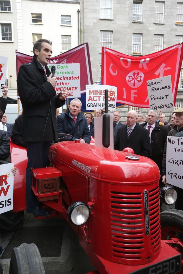 Joe Healy speaking at a protest by grain farmers in Dublin last January. Photo: Damien Eagers