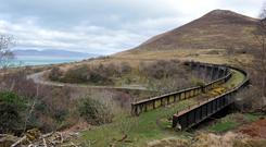 The Kells Viaduct on the Ring of Kerry where the Dublin to Cahersiveen train passed by Dingle Bay. The last train to cross the bridge was in 1960. The route is one of the proposed 'greenway routes' for walkers and cyclists.