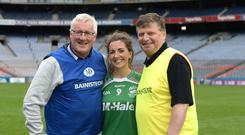 Macra team managers Pat Spillane and John O'Mahoney pictured with Claire Mc Cormack at last week's Croke Park showdown between Macra Massey Kickhams and Macra McHale in Croke Park. Macra McHale, managed by O'Mahoney, edged out Spillane's Macra Kickhams in a 3-13 to 3-12 thriller. Photo: Justin Farrelly
