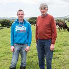 Shane Fitzgerald and his father John on the family farm near Portlaw, Co Waterford. Photo: Sean Byrne