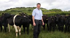 Kevin Bryson on his farm near Burt, Donegal; he also farms on his homeplace in Eglinton, Co Derry. Photo: Declan Doherty
