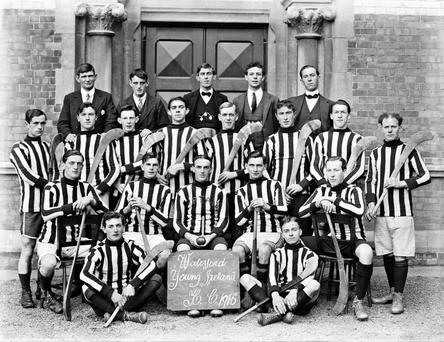 The jerseys suggest a certain all-conquering side in black and amber, but this is a team shot of Waterford Young Ireland who lost the 1916 Waterford senior hurling final to their near neighbours Ferrybank