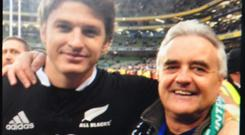 Beauden Barrett and his former neighbour Barney Tighe from Ballinacree, Co Meath pictured at the Aviva Stadium after an All Blacks v Ireland international
