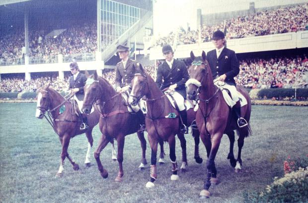 The three- in- a- row Aga Khan winning team of Paul Darragh on Heather Honey, Captain Con Power on Coolronan, James Kernan on Condy, and Eddie Macken on Boomerang
