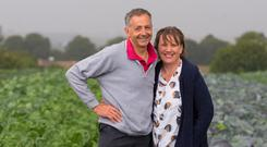 Des Thorpe with is wife Olive on their organic farm in Old Ross. Photo: Patrick Browne