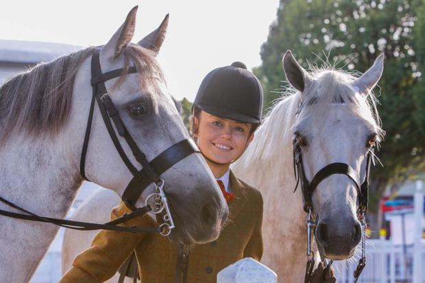Ciara Mullen with her Connemara ponies Assagart Delight and Afro Jack at the Dublin Horse Show