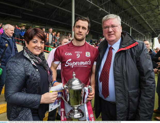 Pat McDonagh and his wife Una and Galway hurling captain David Burke after their county won this year's National Hurling League Division 1 Final. Photo: Sportsfile