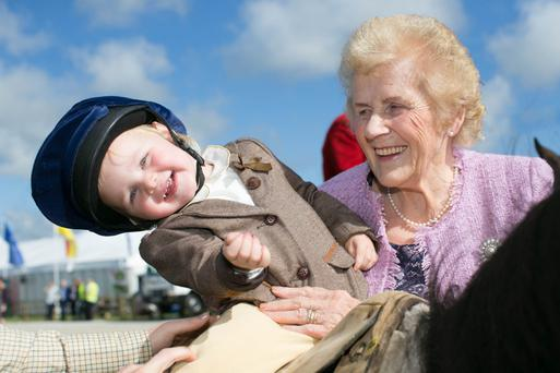 NPA Managing Director Anna May McHugh with 2 year old Elizabeth Hanniffy from the Laois Hunt at the Ploughing launch. Photo: Alf Harvey.