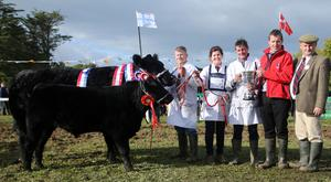 President of the Irish Angus Cattle Society John Farrell presents the All Ireland Supreme Championship Trophy to Michael Barron from Grange, The Rower, Co Kilkenny with Niamh Barron, Niall Faughnan, handler (far left) and Aidan Moloney, judge (far right)