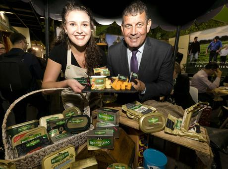 Minister Andrew Doyle and Rachel White from Ornua pictured at the Kerrygold stand during the ANUGA food trade fair in Cologne. Photo: Chris Bellew