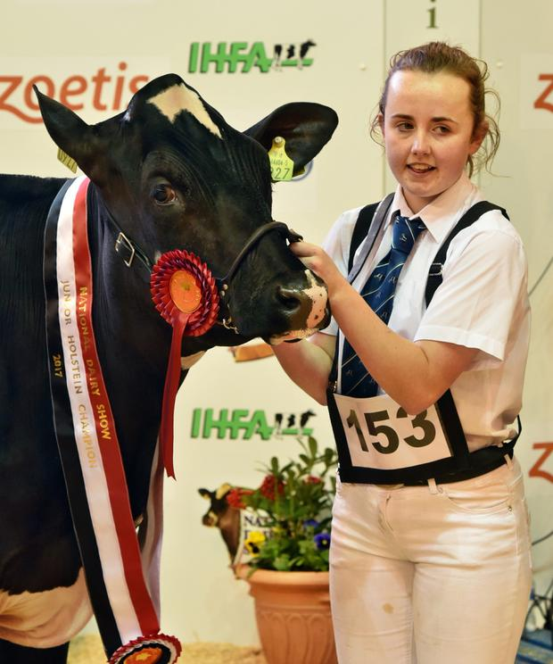 Rachel Corley, Cornafaghey, Smithboro, Co. Cavan with Beemer Dooly the Junior Holstein Champion.