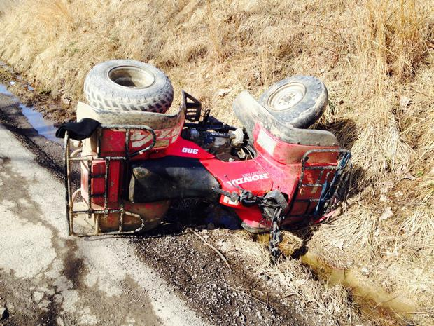 ATVs turning over into a ditch are a common cause of injury
