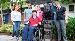 Jonjo Bright pictured with his father John, mother Jayne, girlfriend Reah Magee (left), and physiotherapist Sandy Laping at the Racing Academy & Centre of Education in Kildare