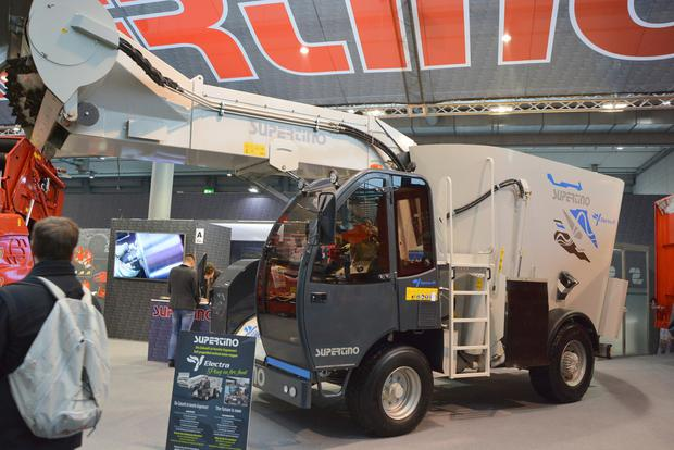 The world's first electric powered self-propelled mixer wagon with silage intake chute was on show on the Supertino stand at Agritechnico