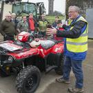 John McNamara (far right), Teagasc Health & Safety Specialist discusses ATV with farmers at a recent Teagasc and HSA farm safety event in Clonakilty. Photo O'Gorman Photography