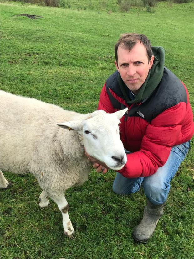 Darragh McCullough with one of his pet sheep.